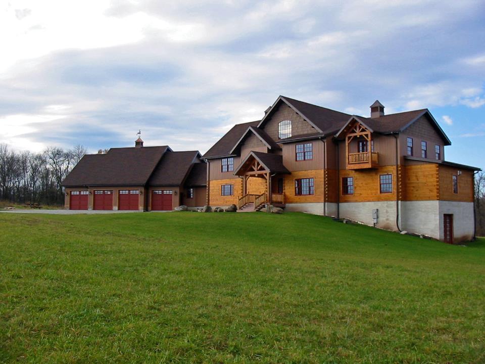 Custom home using 6 x 12 logs with dovetail corners near Harrisburg, PA