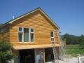 2 x 8 Kiln Dried White Pine log siding applied to a stick frame addition