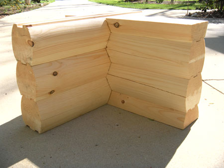 8 x 8 Round/Round Logs with Saddle Notch Corner
