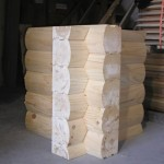 8x8 Round Flat D Logs Saddle Notch Corner