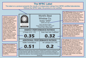 A sample NFRC label with descriptions